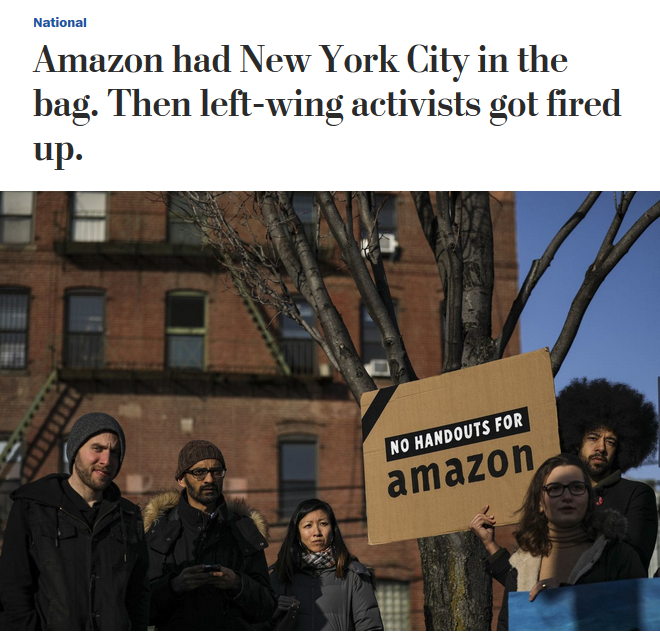 WaPo: Amazon had New York City in the bag. Then left-wing activists got fired up.