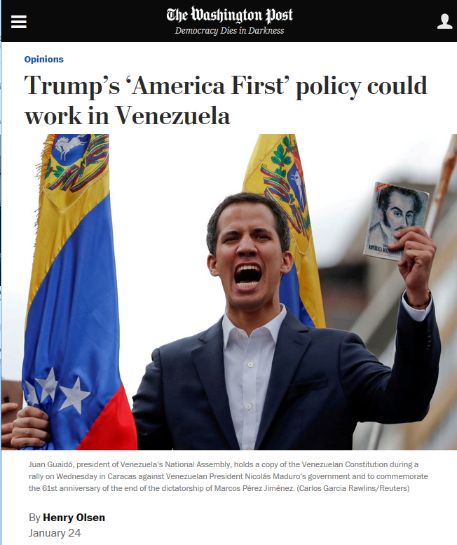 Washington Post: Trump's 'America First' policy could work in Venezuela