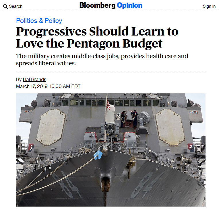 Bloomberg: Progressives Should Learn to Love the Pentagon Budget