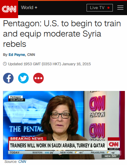 CNN: Pentagon: U.S. to begin to train and equip moderate Syria rebels