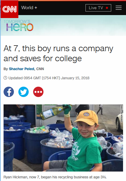 CNN: At 7, This Boy Runs a Company And Saves for College