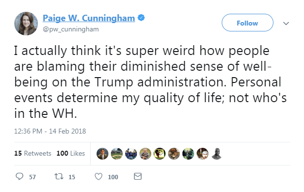 "Paige Cunningham on Twitter: ""I actually think it's super weird how people are blaming their diminished sense of well-being on the Trump administration."