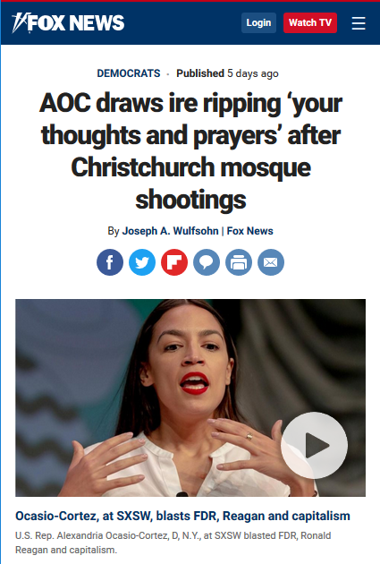 Fox: AOC draws ire ripping 'your thoughts and prayers' after Christchurch mosque shootings