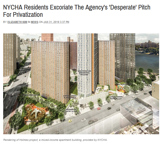 Gothamist: NYCHA Residents Excoriate The Agency's 'Desperate' Pitch For Privatization