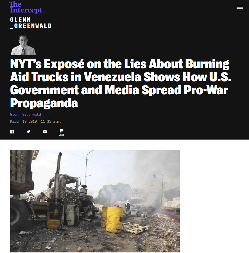 Intercept: NYT's Exposé on the Lies About Burning Aid Trucks in Venezuela Shows How U.S. Government and Media Spread Pro-War Propaganda