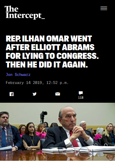 Intercept: Rep. Ilhan Omar Went After Elliott Abrams for Lying to Congress. Then He Did It Again.