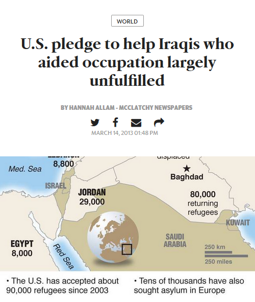 McClatchy: US Pledge to Help Iraqis Who Aided Occupation Largely Unfulfilled