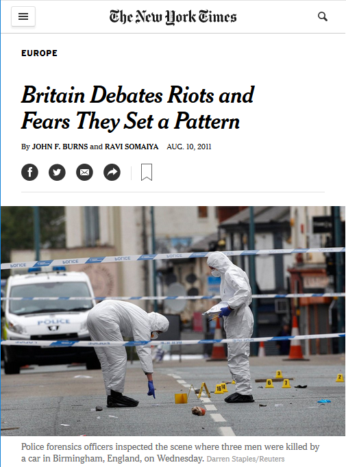NYT: Britain Debates Riots and Fears They Set a Pattern