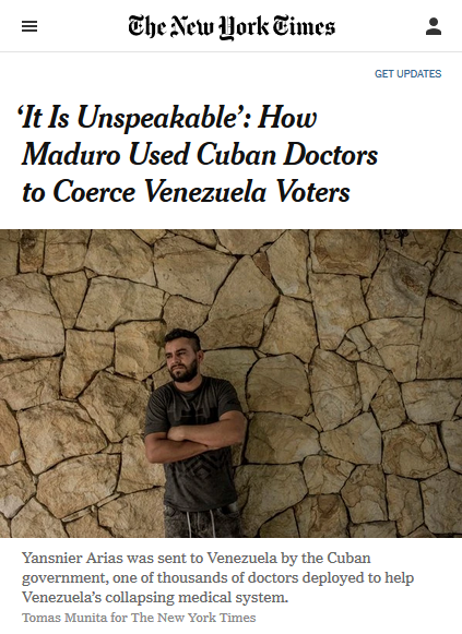 NYT: 'It Is Unspeakable': How Maduro Used Cuban Doctors to Coerce Venezuela Voters
