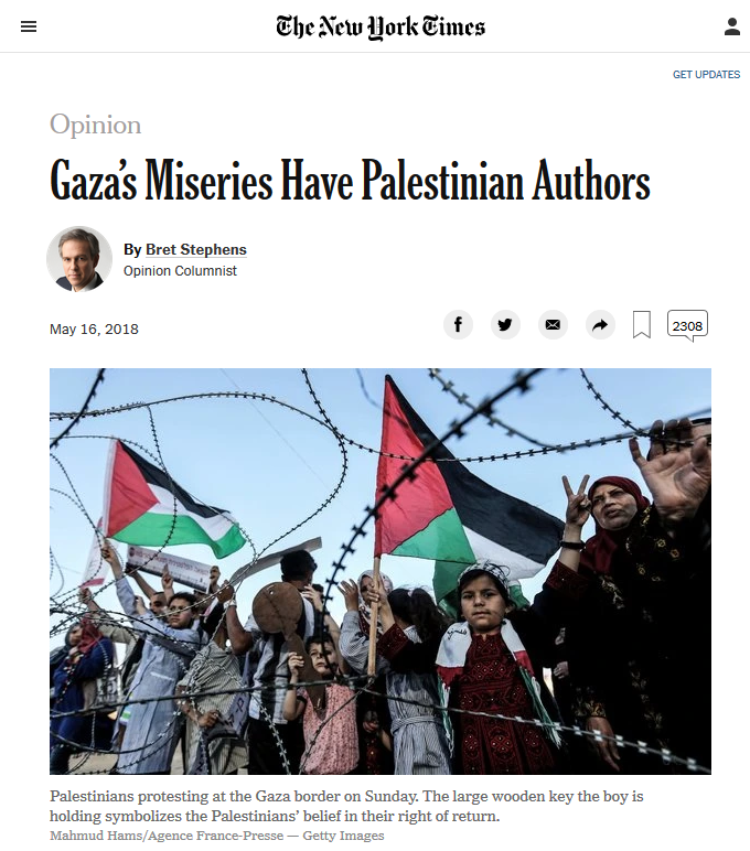 NYT: Gaza's Miseries Have Palestinian Authors