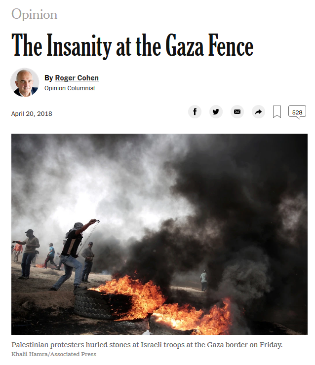 NYT: The Insanity at the Gaza Fence