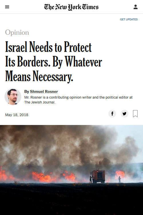 NYT: Israel Needs to Protect Its Borders By Whatever Means Necessary