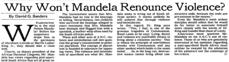 NYT: Why Won't Mandela Renounce Violence?