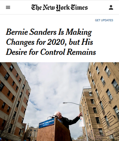 NYT: Bernie Sanders Is Making Changes for 2020, but His Desire for Control Remains