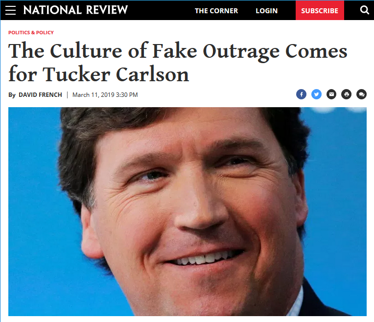 National Review: The Culture of Fake Outrage Comes for Tucker Carlson
