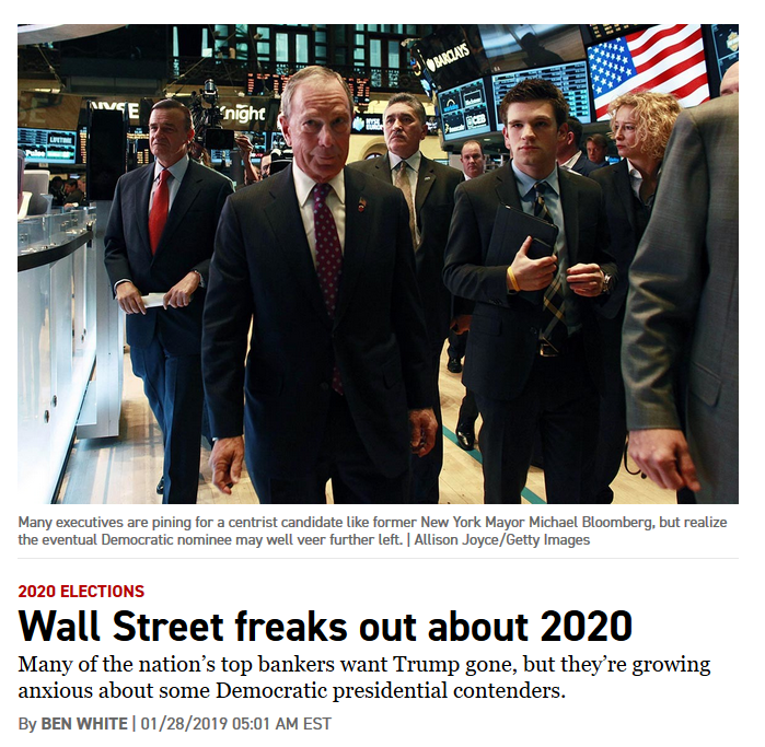 Politico: Wall Street freaks out about 2020