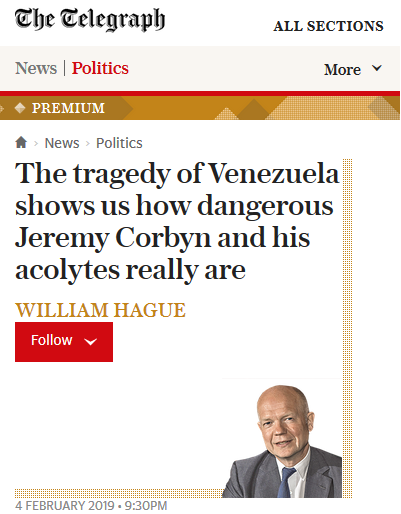 Telegraph: The tragedy of Venezuela shows us how dangerous Jeremy Corbyn and his acolytes really are