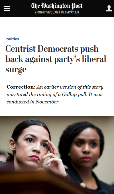 WaPo: Centrist Democrats push back against party's liberal surge