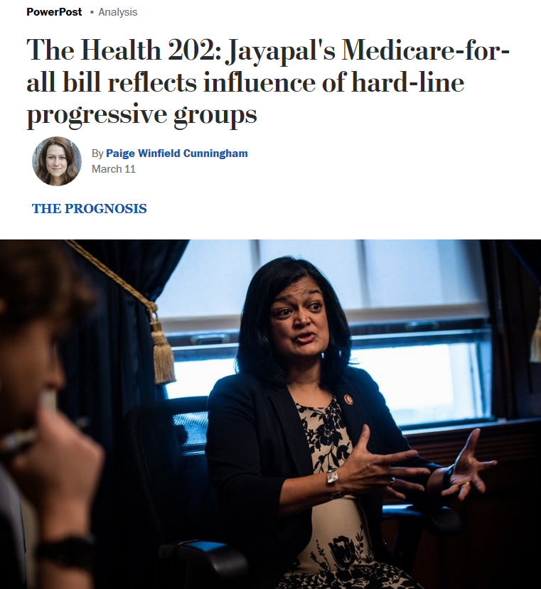 WaPo: Jayapal's Medicare-for-all bill reflects influence of hard-line progressive groups