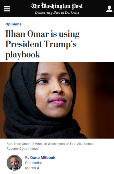 WaPo: Ilhan Omar is using President Trump's playbook