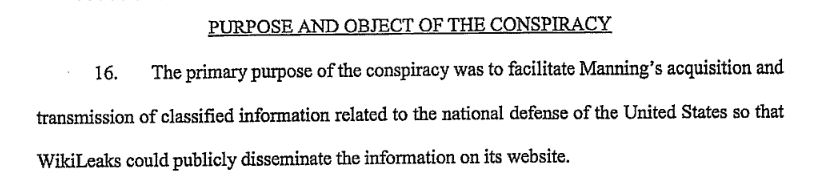 Assange Indictment: Purpose and Object of the Conspiracy