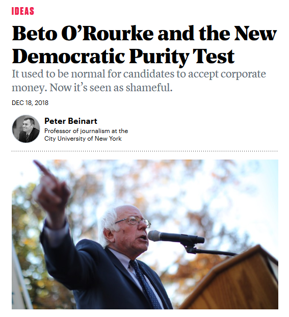 Atlantic: Beto O'Rourke and the New Democratic Purity Test