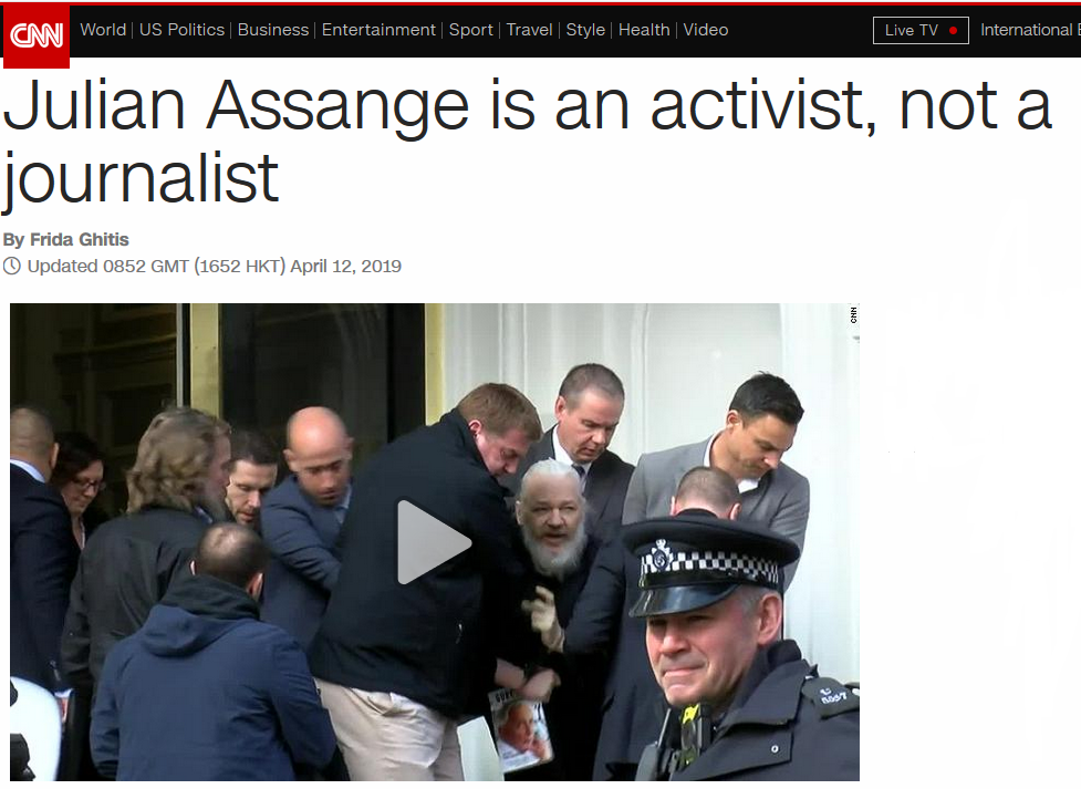 CNN: Julian Assange Is an Activist, Not a Journalist