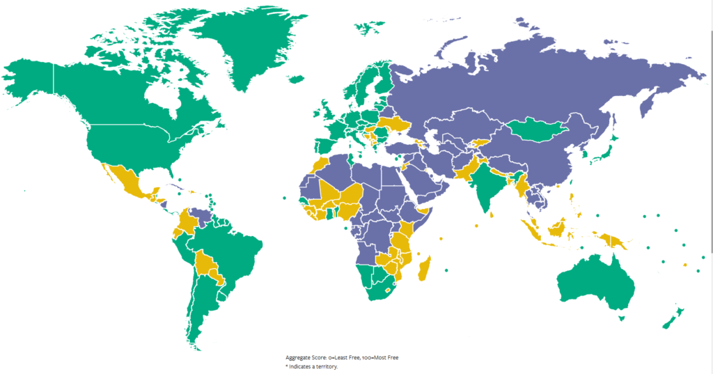 Freedom House's map of