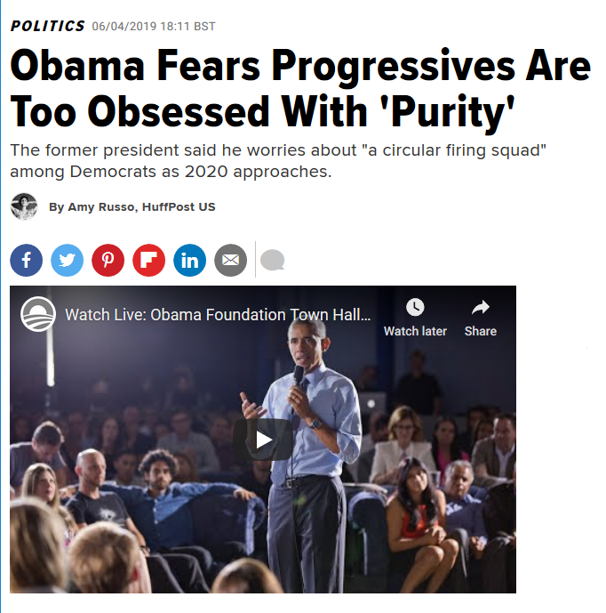 HuffPost: Obama Fears Progressives Are Too Obsessed With 'Purity'