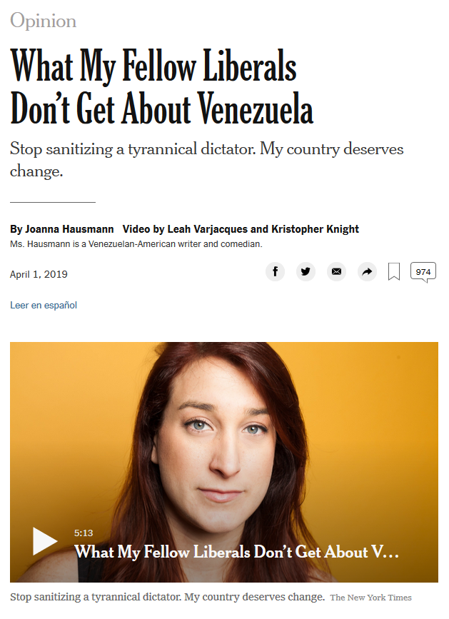 NYT: What My Fellow Liberals Don't Get About Venezuela