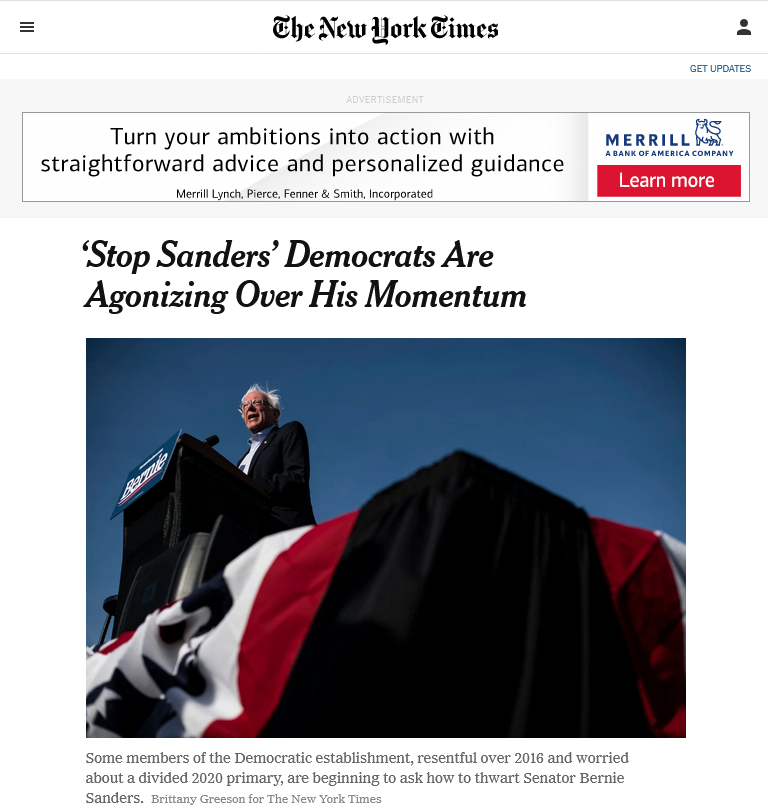 NYT: Stop Sanders Democrats Are Agonizing Over His Momentum