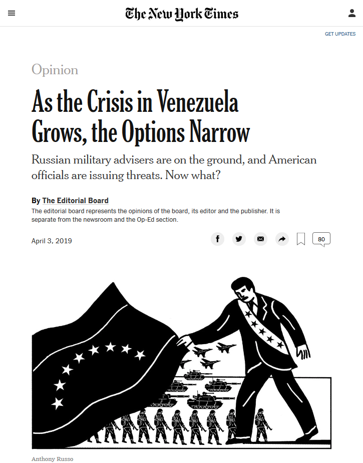 NYT: As the Crisis in Venezuela Grows, the Options Narrow
