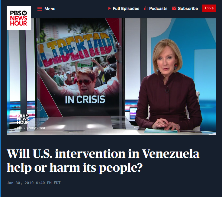 NewsHour: Will US Intervention in Venezuela Help or Harm Its People?