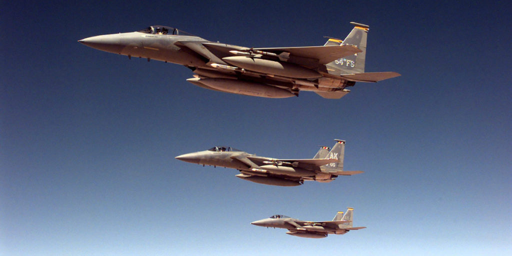US F-15s flying over Iraq as part of Operation Southern Watch.