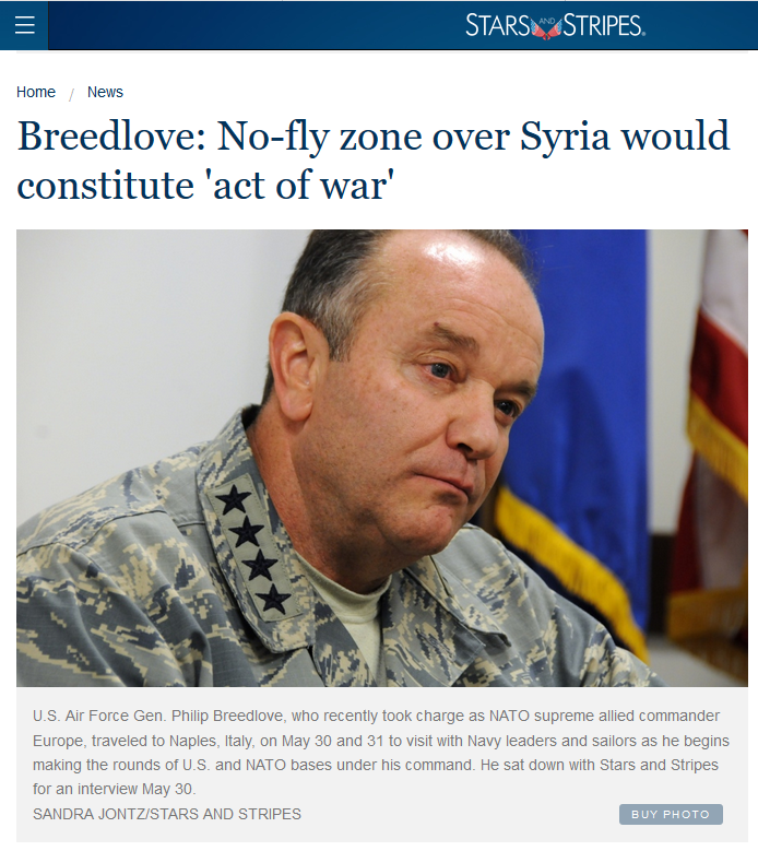 Stars & Stripes: Breedlove: No-fly zone over Syria would constitute 'act of war'