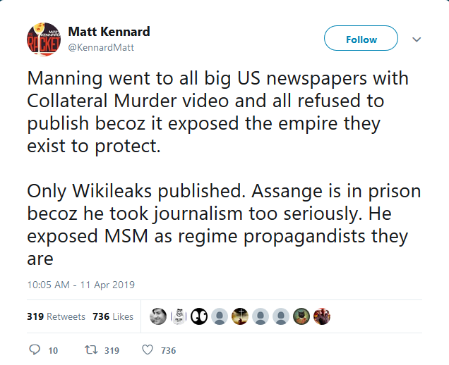 Twitter: Manning went to all big US newspapers with Collateral Murder video and all refused to publish becoz it exposed the empire they exist to protect.