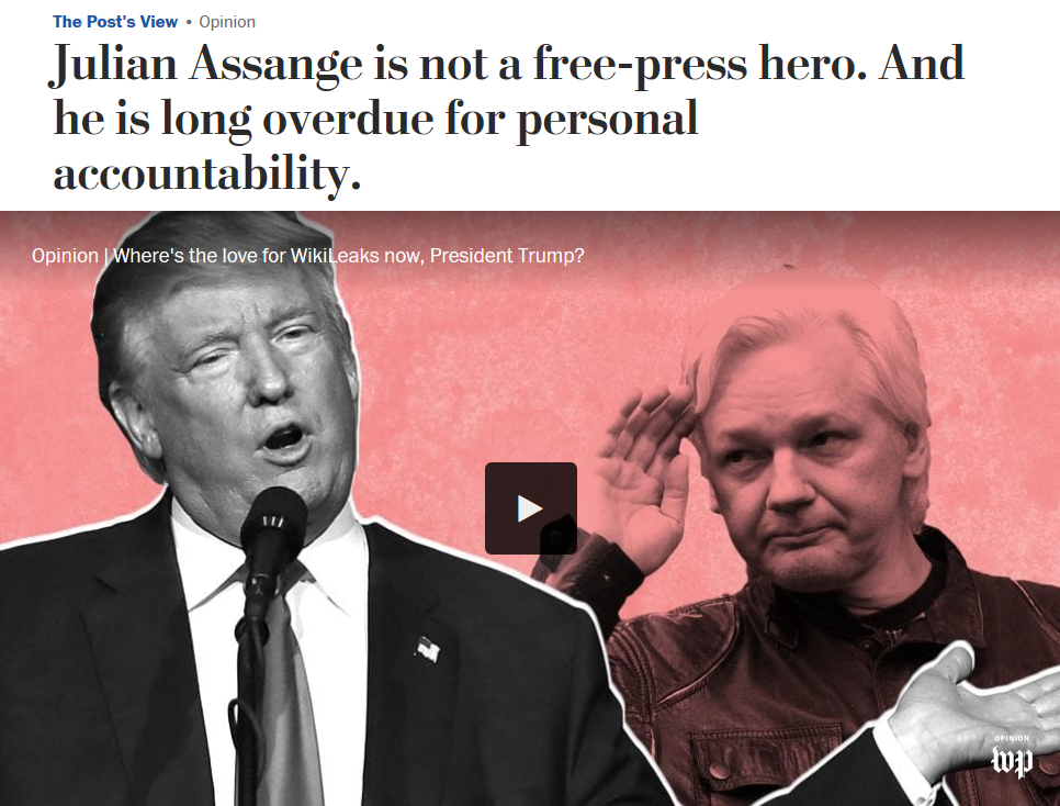 Washington Post: Julian Assange is not a free-press hero. And he is long overdue for personal accountability.