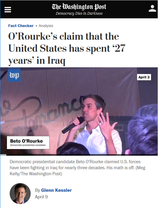 WaPo: O'Rourke's claim that the United States has spent '27 years' in Iraq