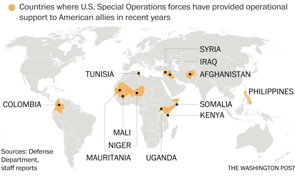 WaPo: Where US Special Operations forces have provided operational support to American allies in recent years