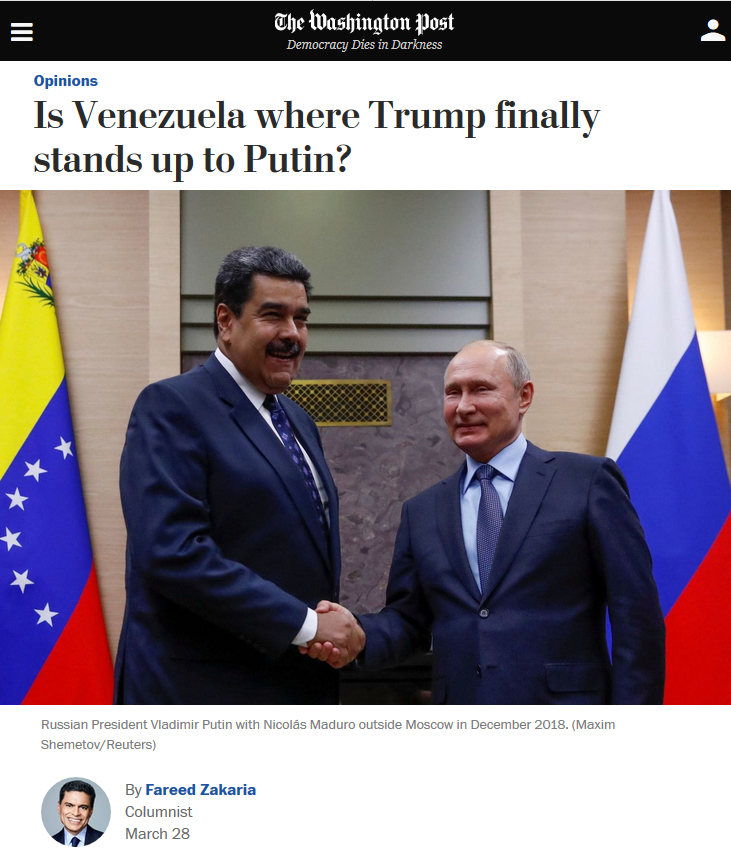 WaPo: Is Venezuela Where Trump Finally Stands Up to Putin