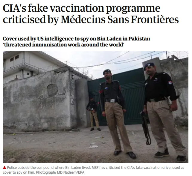 Guardian: CIA's fake vaccination programme criticised by Médecins Sans Frontières