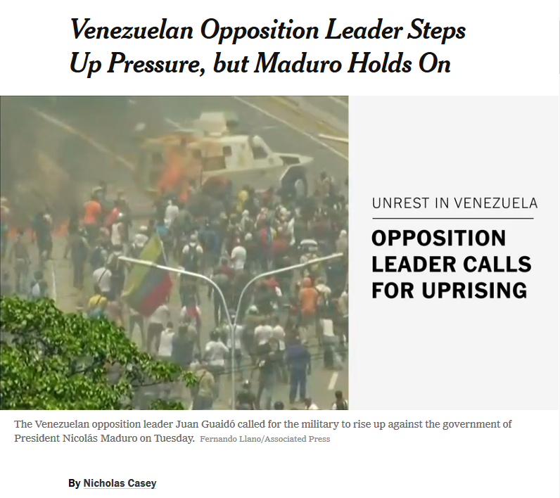 NYT: Venezuelan Opposition Leader Steps Up Pressure, but Maduro Holds On