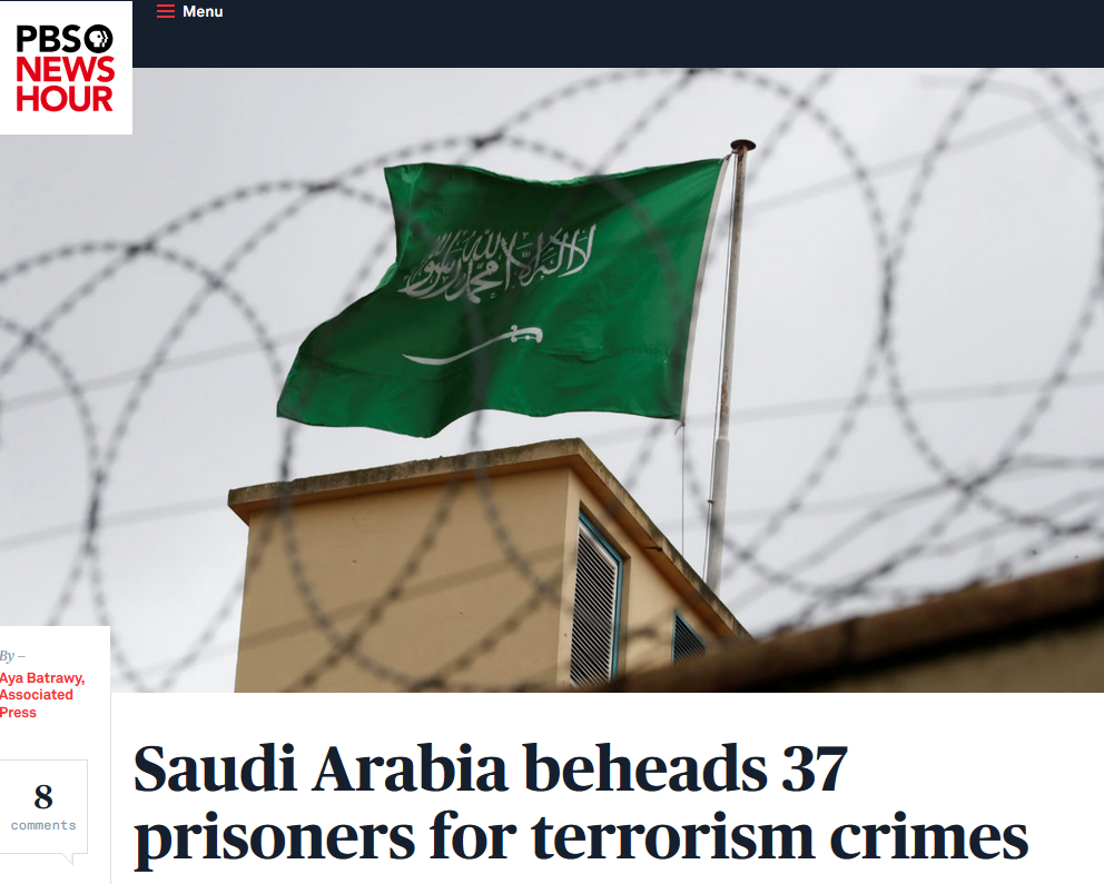 NewsHour: Saudi Arabia Beheads 37 Prisoners for Terrorism Crimes