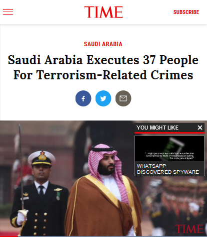 Time: Saudi Arabia Executes 37 People For Terrorism-Related Crimes