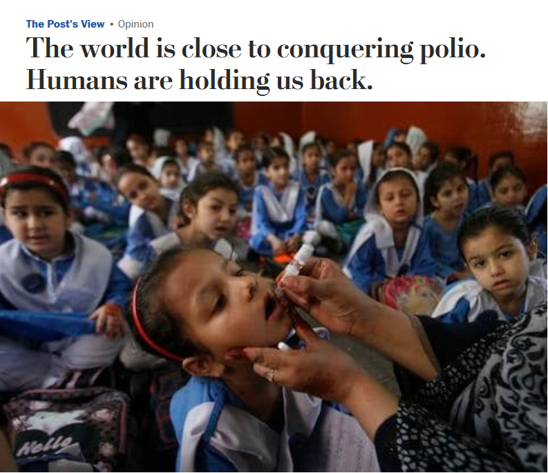 WaPo: The world is close to conquering polio. Humans are holding us back.