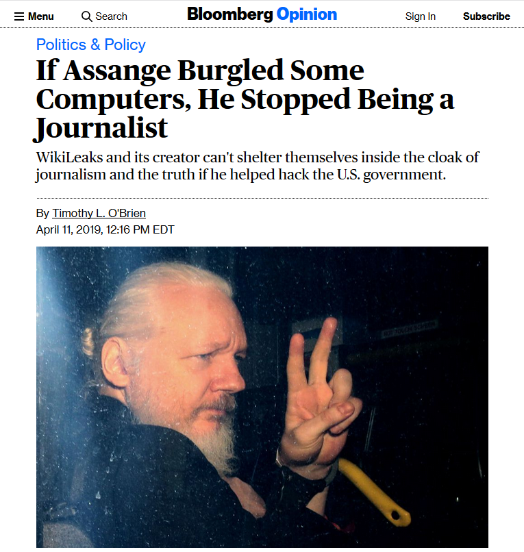 Bloomberg: If Assange Burgled Some Computers, He Stopped Being a Journalist
