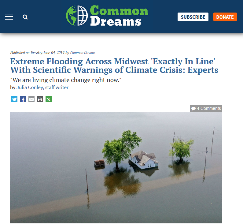 Common Dreams: Extreme Flooding Across Midwest 'Exactly In Line' With Scientific Warnings of Climate Crisis: Experts
