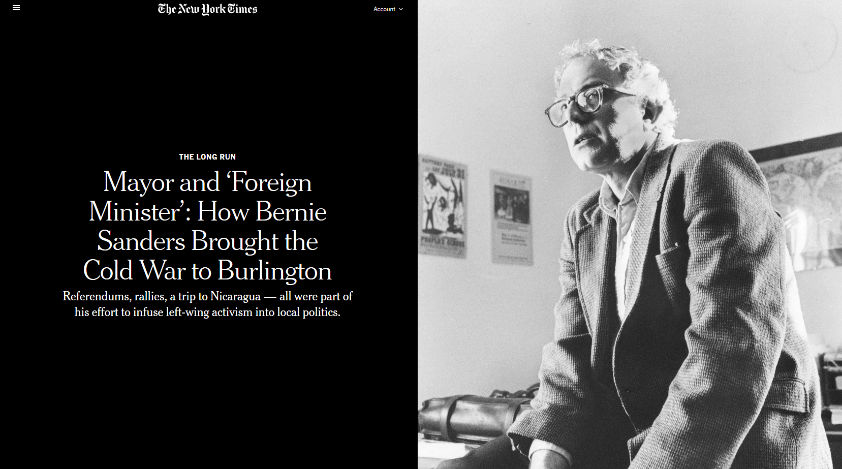 NYT: Mayor and 'Foreign Minister': How Bernie Sanders Brought the Cold War to Burlington