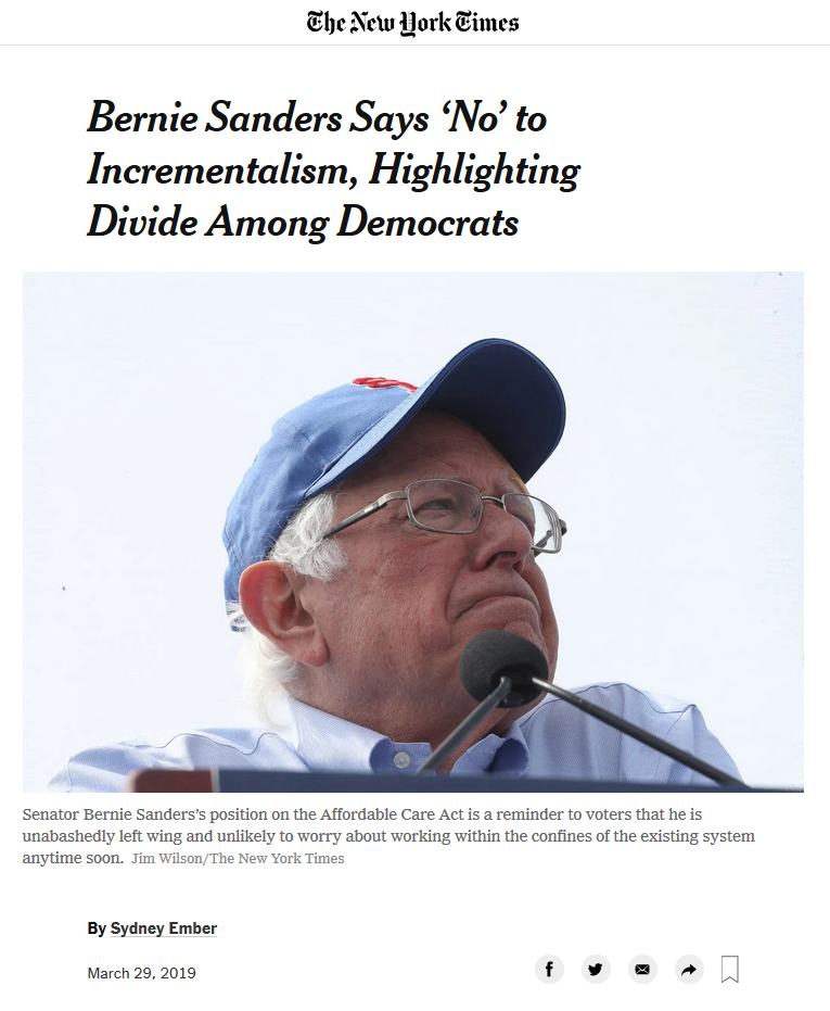 NYT: Bernie Sanders Says 'No' to Incrementalism, Highlighting Divide Among Democrats