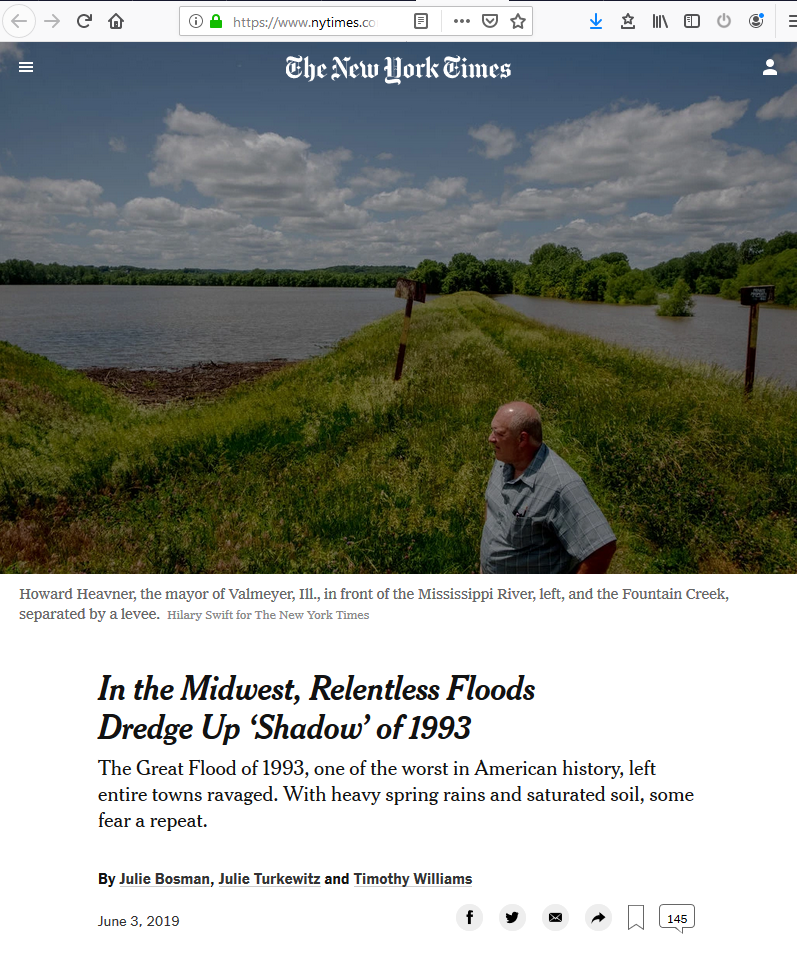 NYT: In the Midwest, Relentless Floods Dredge Up 'Shadow' of 1993